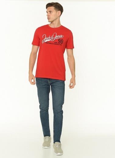 Jack & Jones Jack & Jones Erkek Baskılı T Shirt 12180867 Kırmızı